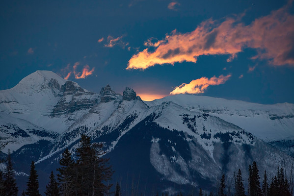 Moon Rise over the Canadian Rockies, Banff, Alberta