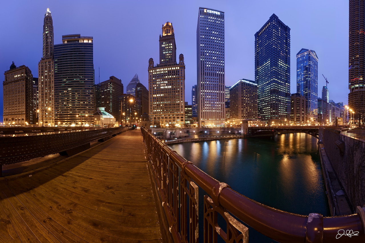 Wabash Blue Hour...<br /> <br /> Blue hour on a cold rainy night from the Wabash Street Bridge...