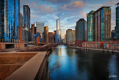 Western View  A western view down the Chicago river with the Trump Tower in the distant center...
