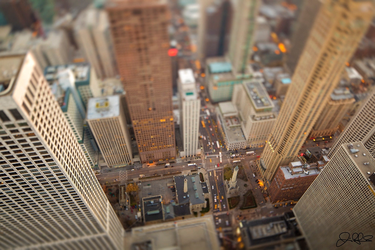 Micro Magnificent Mile...<br /> <br /> Chicago's magnificent mile looking miniature with the aid of a little tilt-shift from the top of the Hancock building. The intersection in the middle of this photo is Chicago and Michigan ave. The castle like structure in the middle of the photo is the Chicago Water Tower, The tower was constructed in 1869 and was one of the only the only buildings in the area to survive the great Chicago fire, While it was originally built to house a large water pump to draw water from the Lake Michigan; it now serves as a Chicago Office of Tourism art gallery.