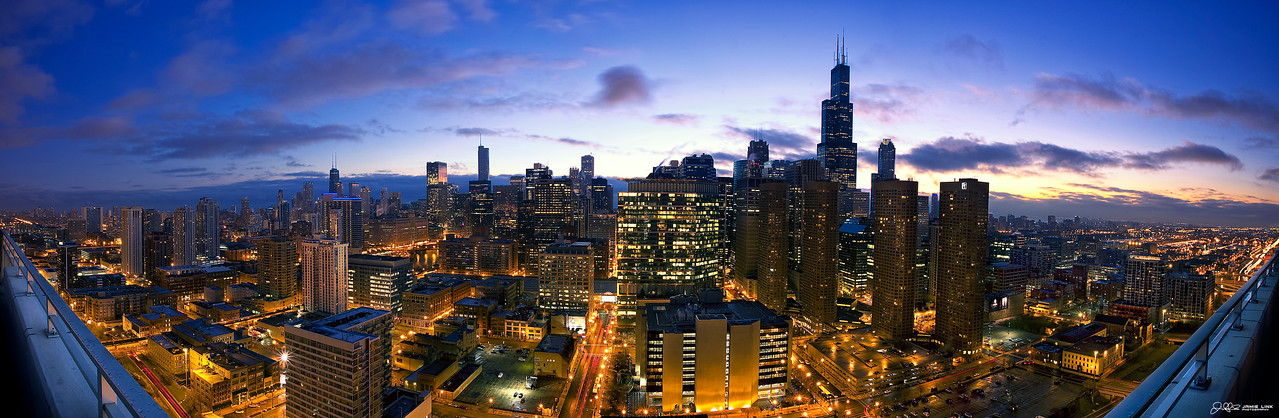 Blue Chicago Skybridge Sunrise...<br /> <br /> Western facing view of the Chicago Skyline taken at Sunrise. Its a multi-image panoramic and the full image size is 12000x5000 and over 1gigabyte!!!!