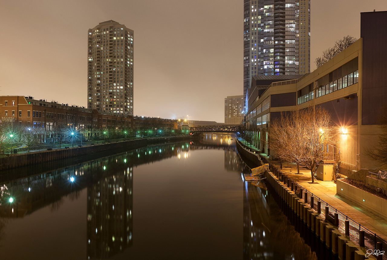 CHICAGO RIVER NORTH BRANCH...<br /> <br /> The river was like glass on this night and the reflections were just awesome. You rarely see it so calm so I had to stop and shoot for a bit. Here is the view looking north from the Hubbard Street Bridge...