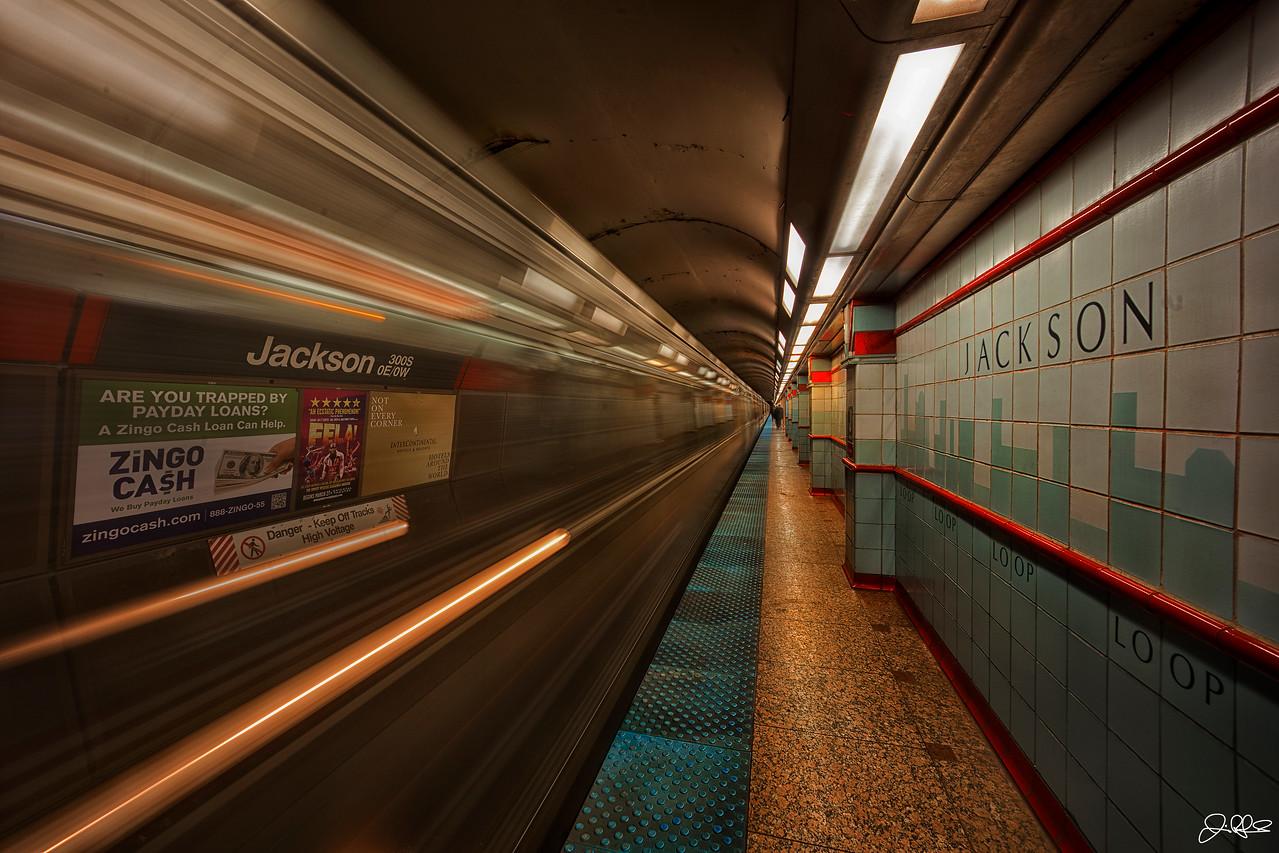 JACKSON REDLINE STOP<br /> <br /> A subway train leaves the Jackson Redline station in Chicago.