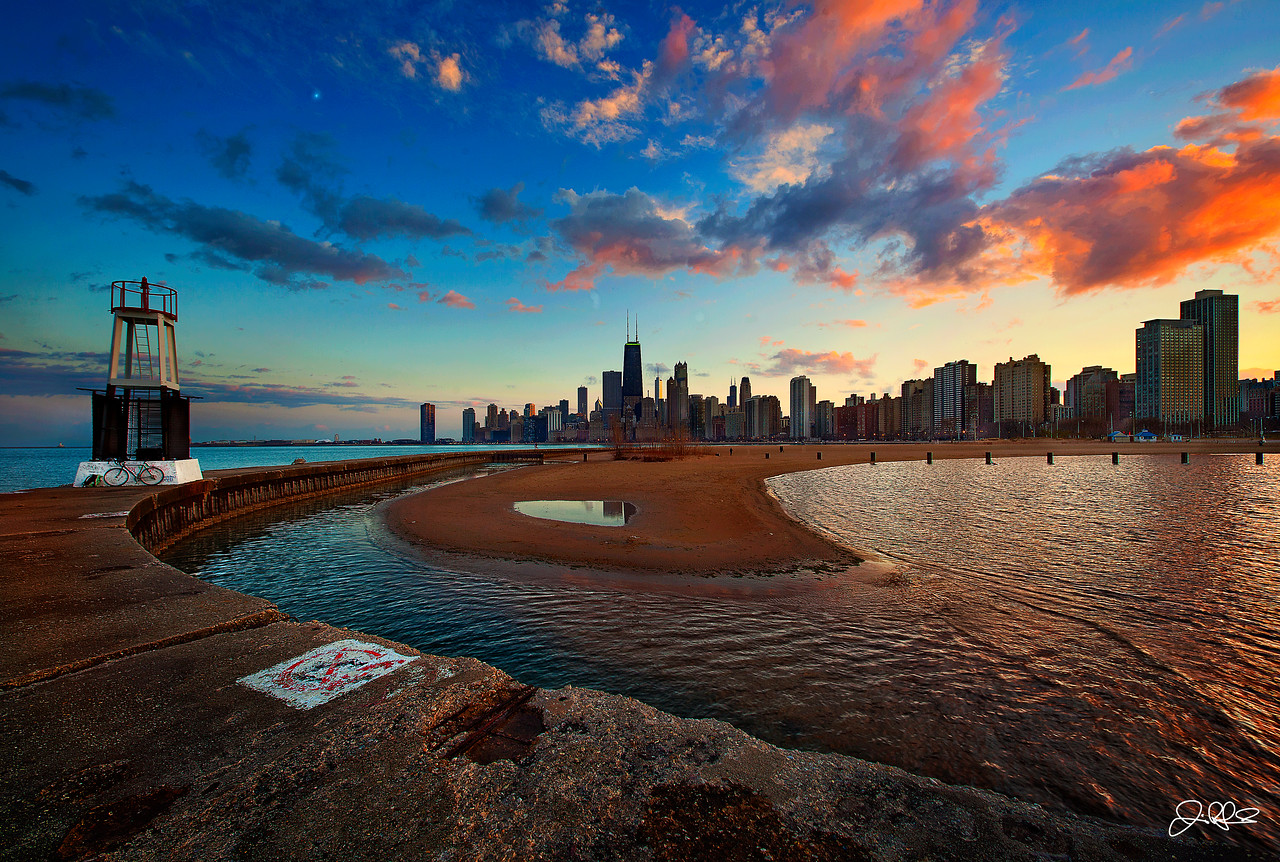 SPRING CHICAGO SUNSET @ NORTH AVE BEACH<br /> <br /> Sunset provided a bit of color over Chicago on this spring evening...