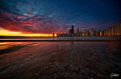 ICY WINDY CITY SUNRISE...  Woke up randomly on this morning at 530 and I couldnt fall back asleep no matter how hard I tried. I cant put my finger on it, but something was telling me to bundle up and head out into the cold, so I got up and headed out. I was rewarded by one of the most beautiful sunrises I have ever seen Chicago!!! Totally worth it IMO!!!