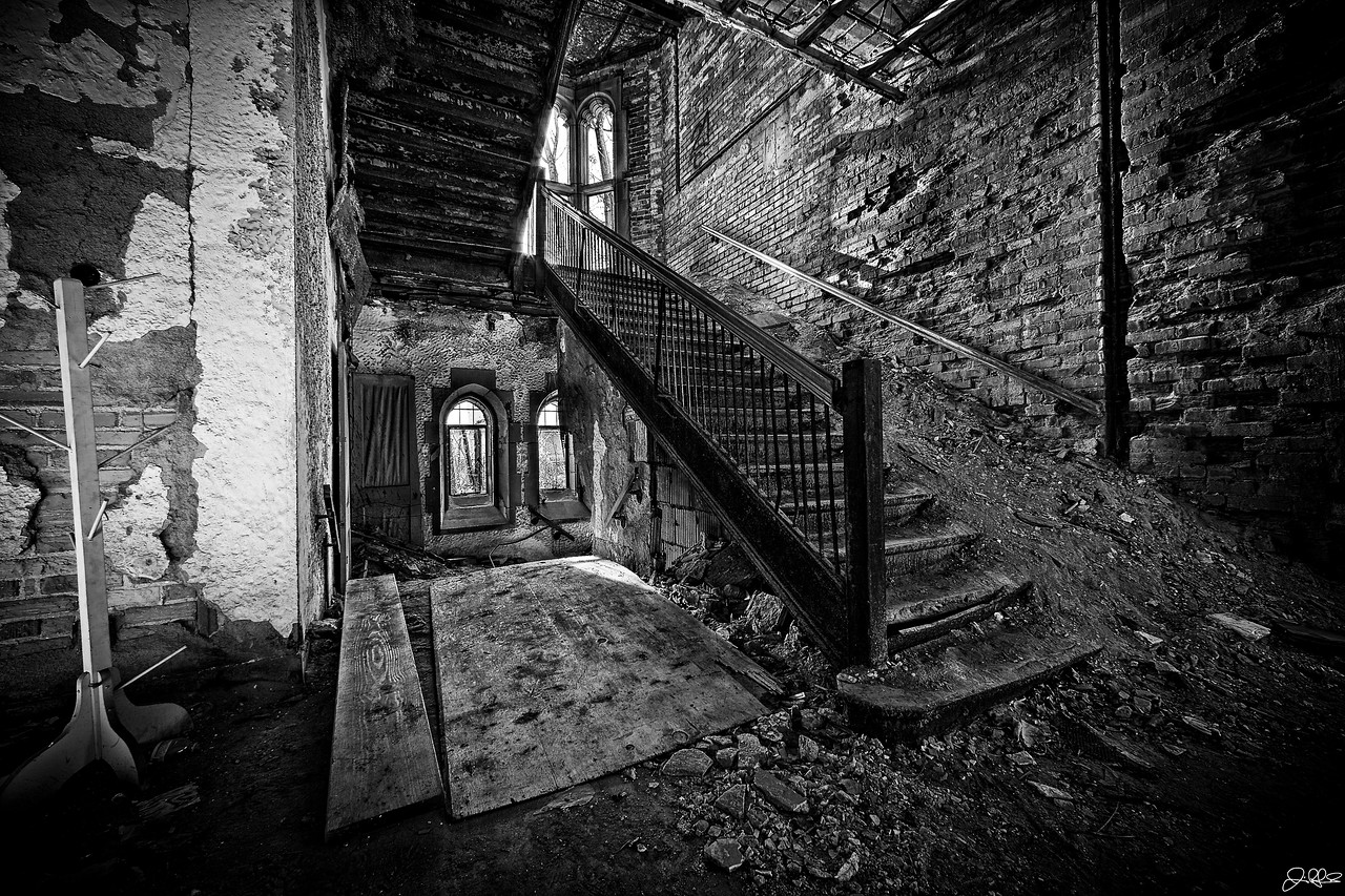 City Methodist Church Main Staircase<br /> <br /> The main staircase of City Methodist Church has been subject to over 3 decades of abandonment. This church cost 1 million dollars to build back in the roaring 20's. Now it sits to decay. Forgotten in the sands of time.
