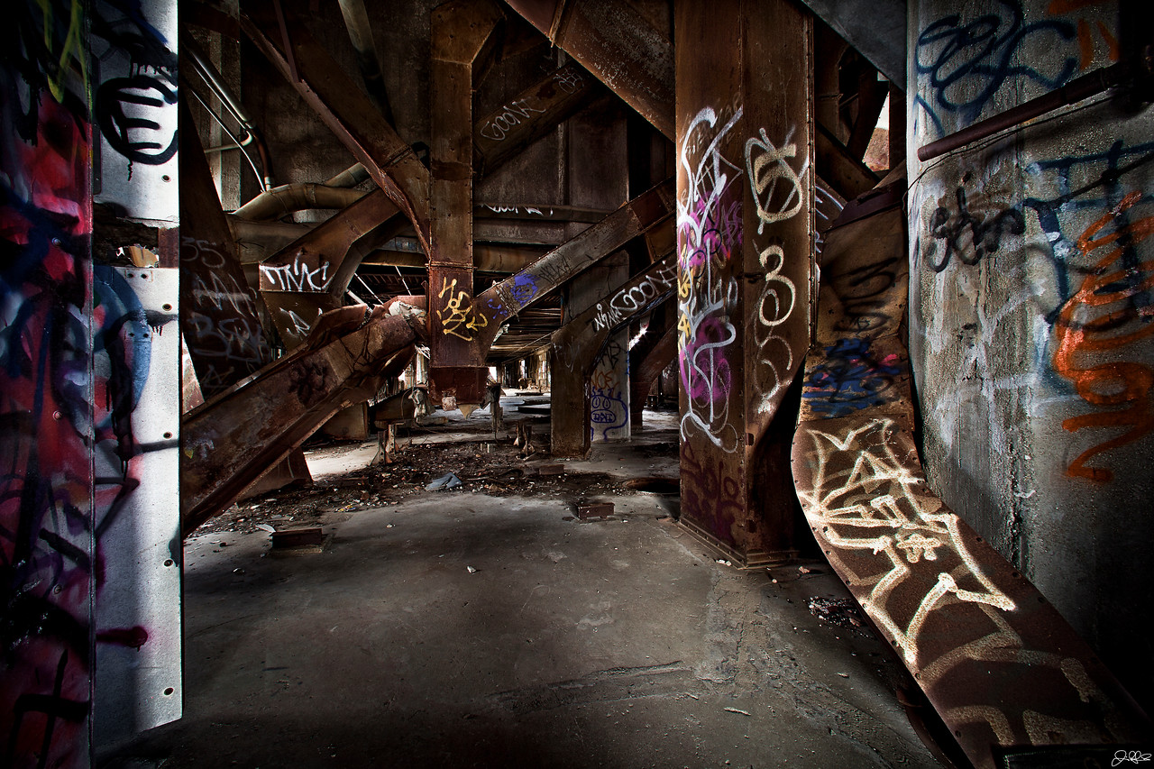 Abandoned Factory Duct Work....<br /> <br /> The upper level of this abandoned factory was lined with interesting ductwork and colorful graffiti!!