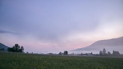 Sonnenaufgang über Oberammergau, Bayern, Deutschland