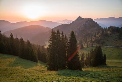 Sonnenaufgang vom Pürschlinghaus aus, Bayern, Deutschland