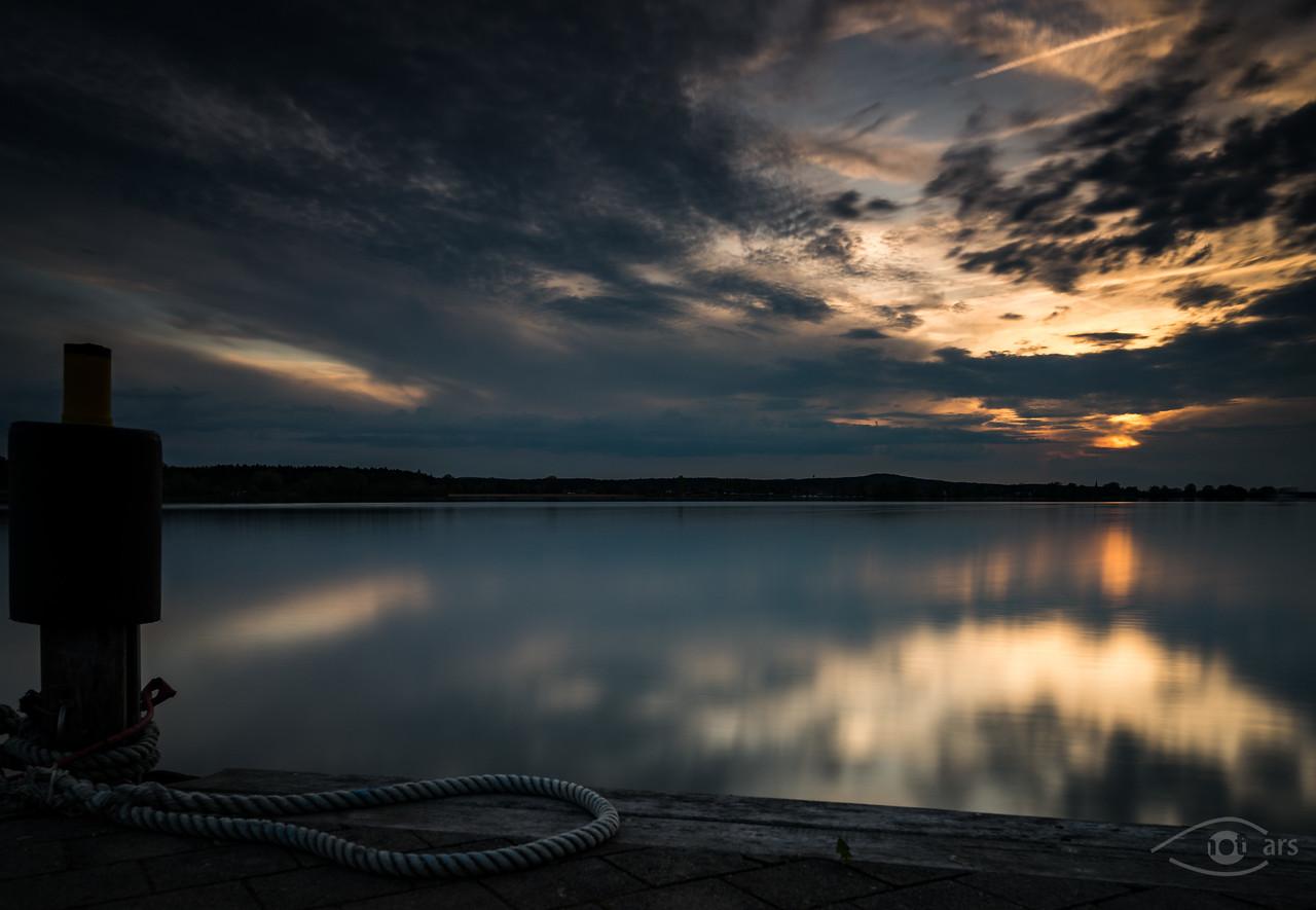 Sonnenuntergang am Altmühlsee am Dampfersteg, Gunzenhausen, Bayern, Deutschland