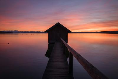 Sonnenuntergang am Ammersee, Stegen, Oberbayern, Bayern, Deutschland