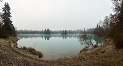 Nebel am Auensee, Königsbrunn, Schwaben, Bayern, Deutschland
