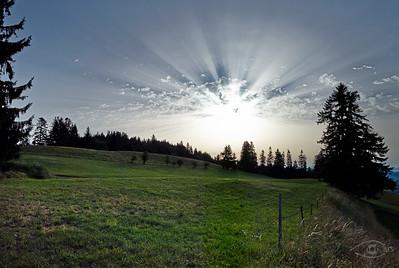 Sonnenaufgang auf dem Auerberg, Bernbeuren, Allgäu, Bayern, Deutschland