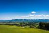 Ausblick vom Auerberg zu den Alpen über das Alpenvorland, Oberbayern, Bayern, Deutschland