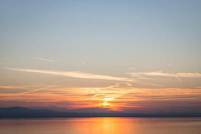 Sonnenuntergang am Bodensee, Bayern, Deutschland