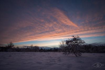 Sonnenaufgang, Deuringer Heide, Schwaben, Bayern, Deutschland
