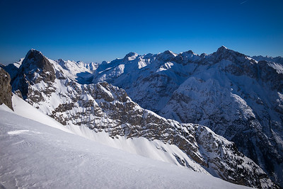 Schnee auf dem Karwendel, Bayern, Deutschland
