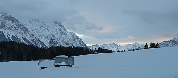Bergpanorama bei Maria Rast, Krün, Oberbayern, Bayern, Deutschland