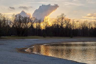 Sonnenuntergang am Kuhsee, Augsburg, Schwaben, Bayern, Deutschland