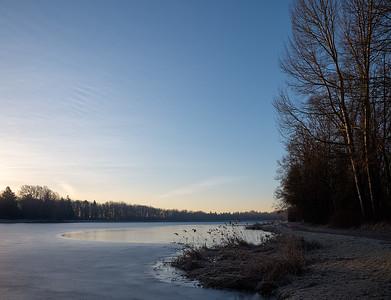 Kuhsee am Morgen im Winter, Augsburg, Schwaben, Bayern, Deutschland