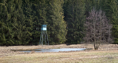 Jägerstand an einem kleinen Teich, Burgwalden, Schwaben, Bayern, Deutschland