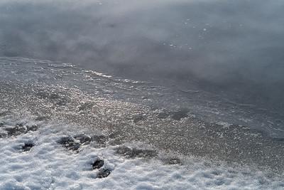Eisformationen im See, Weitmannsee, Schwaben, Bayern, Deutschland