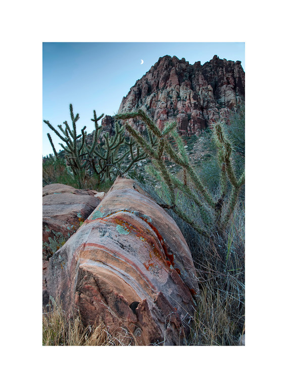 Sarapi - Red Rock Canyon, Nevada. This sedimentary boulder, and others like it, must have inspired many a Mexican Sarapi or Navajo Blanket.