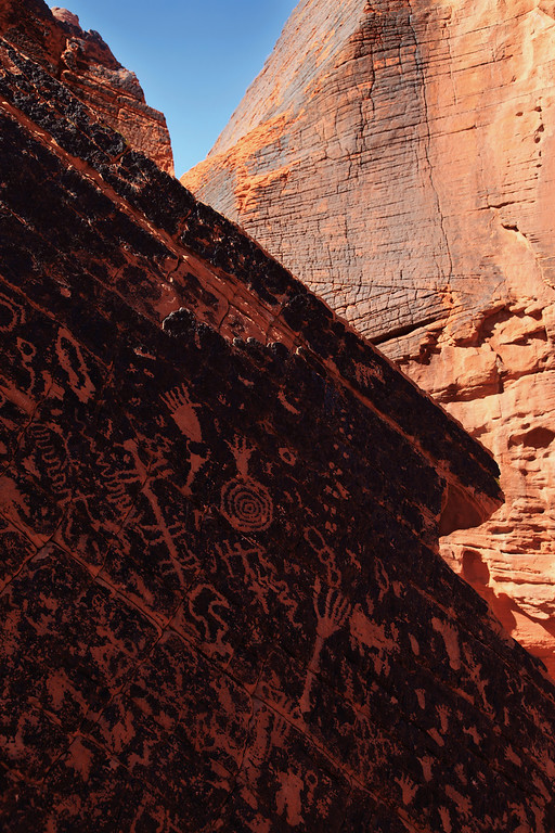 Glyph - Near the base of Atlatl Rock in the Valley of Fire, lies  this other incredible rock covered with Petroglyphs