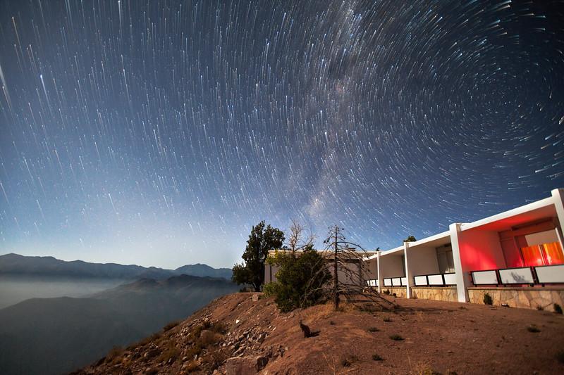 Southern Star Trails Over the Dorm at Cerro Tololo InterAmerican Observatory.