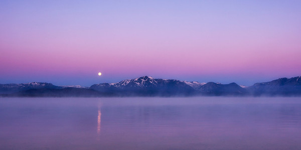 Moon Setting Over Lake Tahoe