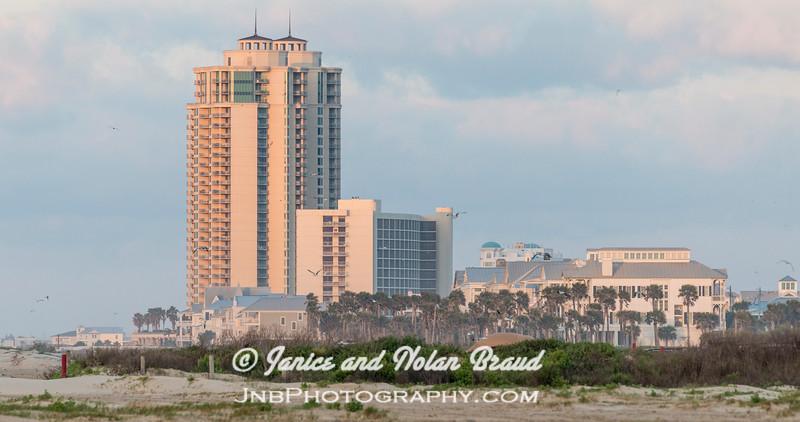 Palisade Palms towers on Galveston East Beach JN105826