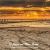 Fisherman and photographers enjoy windy sunrise on Galveston East Beach. Beach pollution contrasts wtih beautiful sky.