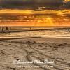 Fisherman and photographers enjoy windy sunrise on Galveston East Beach. Beach pollution contrasts wtih beautiful sky.