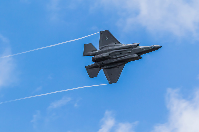 F-35A Lightning II fighter jet at 2019 Wings Over Houston Airshow at Ellington Field in Houston, Texas.