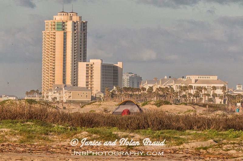 Palisade Palms towers on Galveston East Beach JN105831