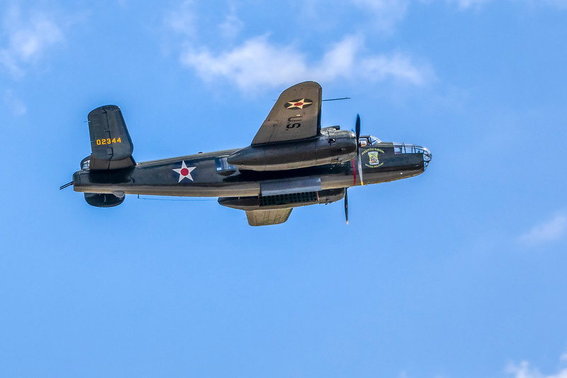 Doolittle Raiders B-25 replica. Commemorative Air Force vintage airplanes and World War II re-enactment at 2019 Wings Over Houston Airshow at Ellington Field in Houston, Texas.