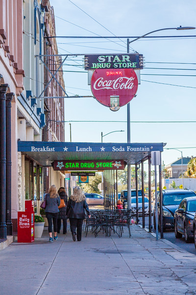 Star Drug Store and Soda Fountain in downtown Galveston, Texas.
