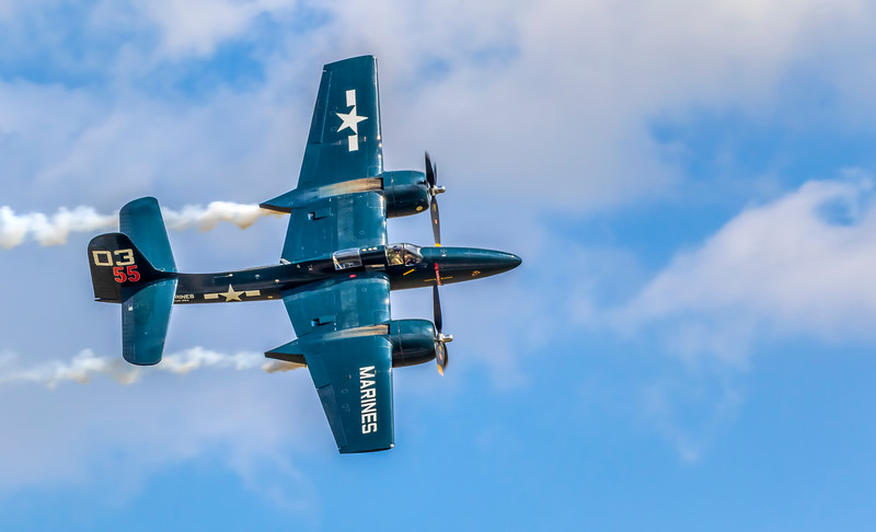Marines F7F-3P Grumman Tigercat fighter plane at 2019 Wings Over Houston airshow, Houston, Texas.