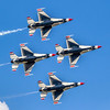 US Air Force Thunderbirds precision flying team performing at 2019 Wings Over Houston at Ellington Field in Houston, Texas.