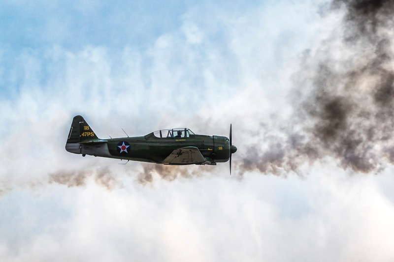 Commemorative Air Force vintage airplanes and World War II re-enactment at 2019 Wings Over Houston Airshow at Ellington Field in Houston, Texas.
