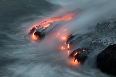 """Ebb And Flow"" Kamokuna ocean entry, Hawaii Volcanoes National Park 08/21/2016"