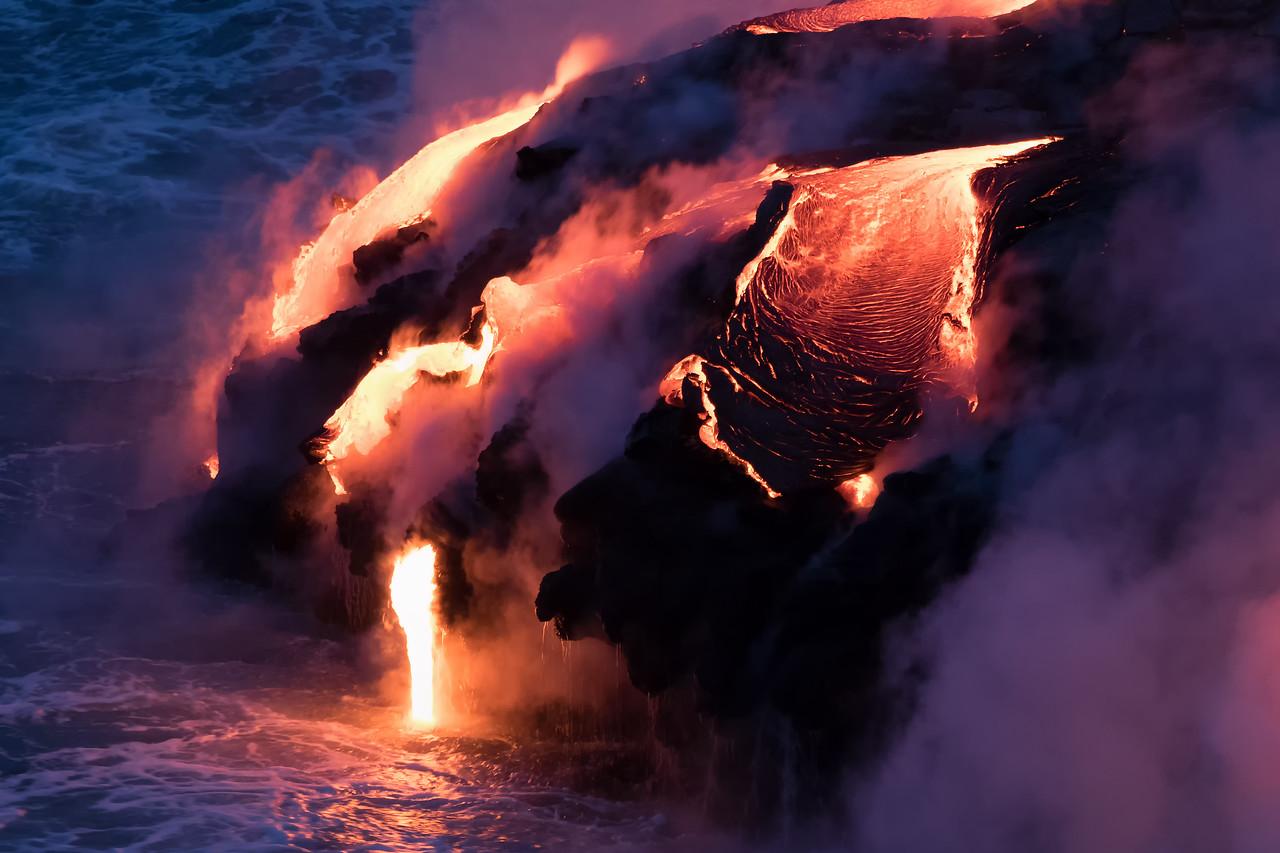 Kamokuna ocean entry, Hawaii Volcanoes National Park 08/21/2016