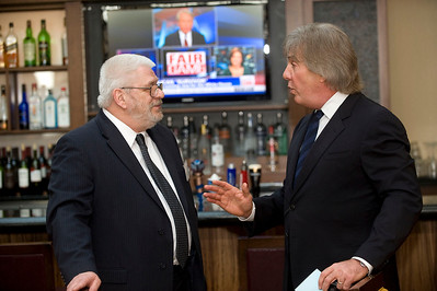 Michigan Lawyers Weekly's Ed Wesolowski, left, talks to Jeffrey Feiger at the Leaders in the Law event in Troy, MI on March 15, 2012.