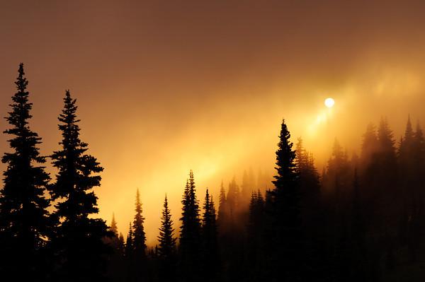 Sunset through the mist