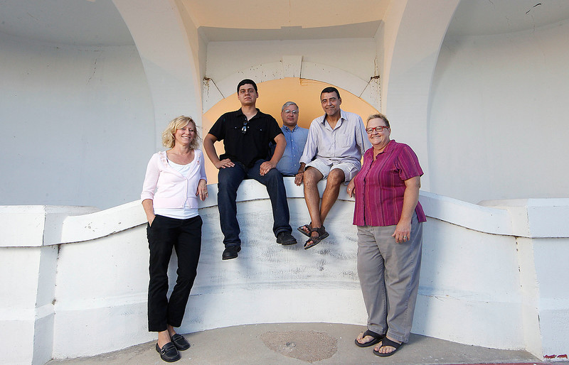 Michelle Smythe, with K Space gallery, and local artist, Gerald Lopez, Ricardo Ruiz, Jimmy Pena and Day Wheeler (left to right)