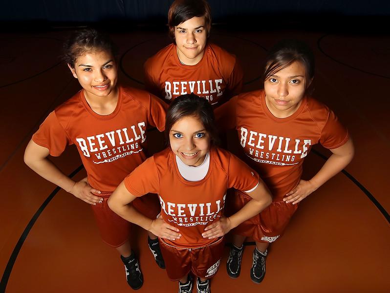 Beeville Trojans wrestling team, Amanda Villegas, April De Los Santos, Brittney Rodriguez and Noemi Lopez