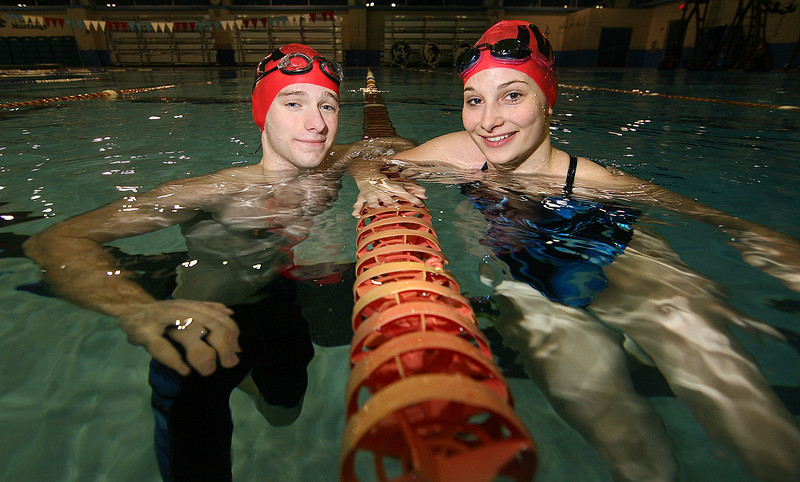 Sam Novack, and Mary Jane Shea/Incarnate Word Academy swimming team captains