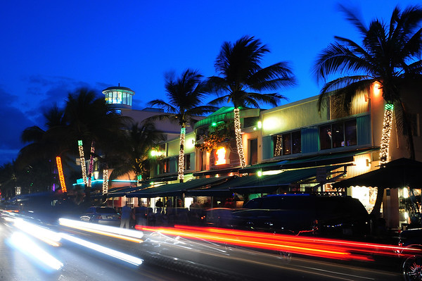 Sunset on Ocean Drive with motion blur and neon lights