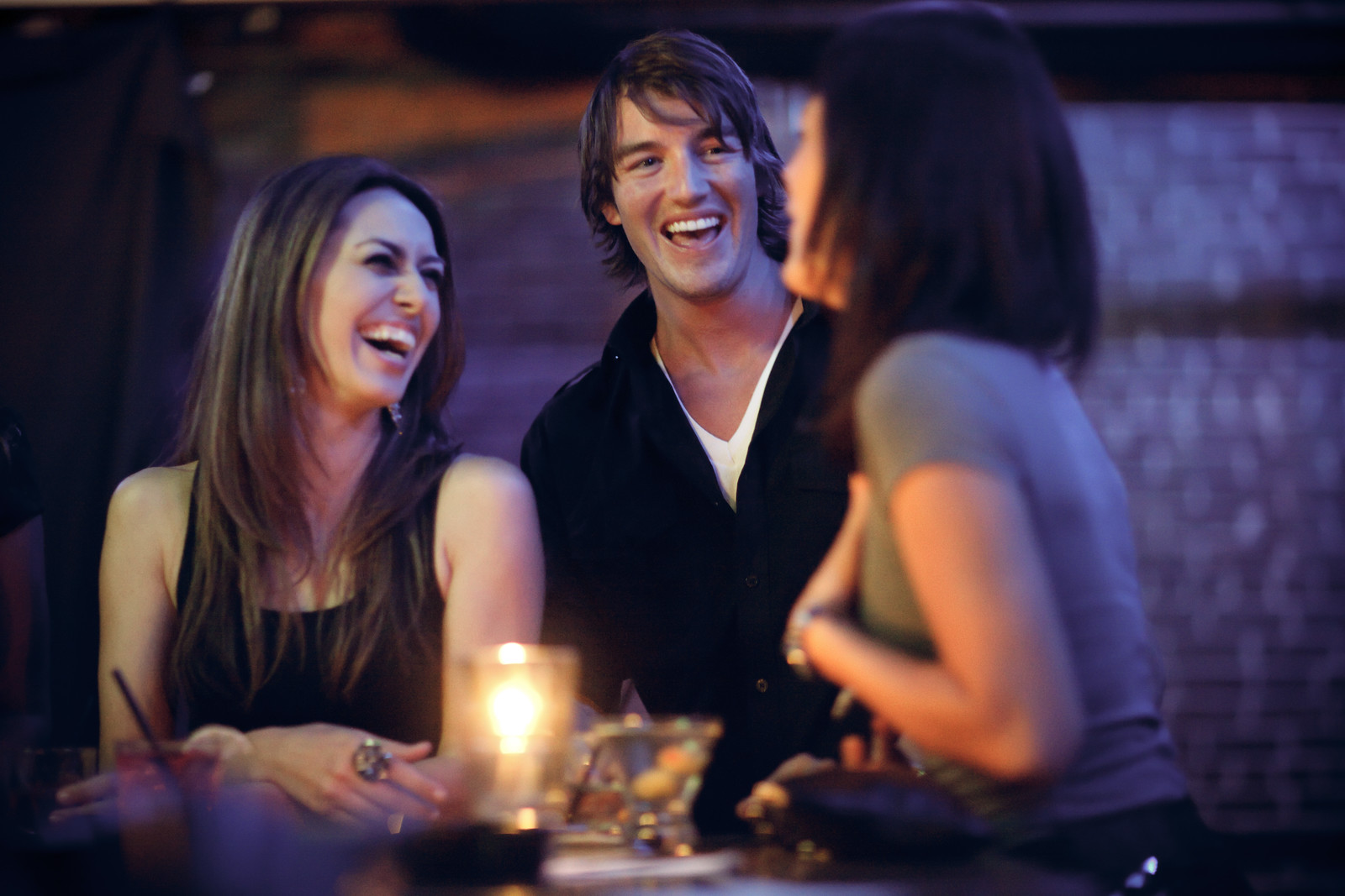 A group of friends laughing.