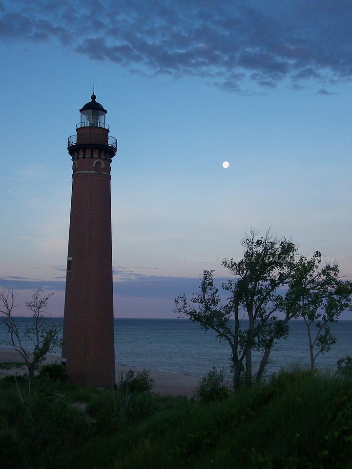 Little Sable Moonset - Silver Lake, MI